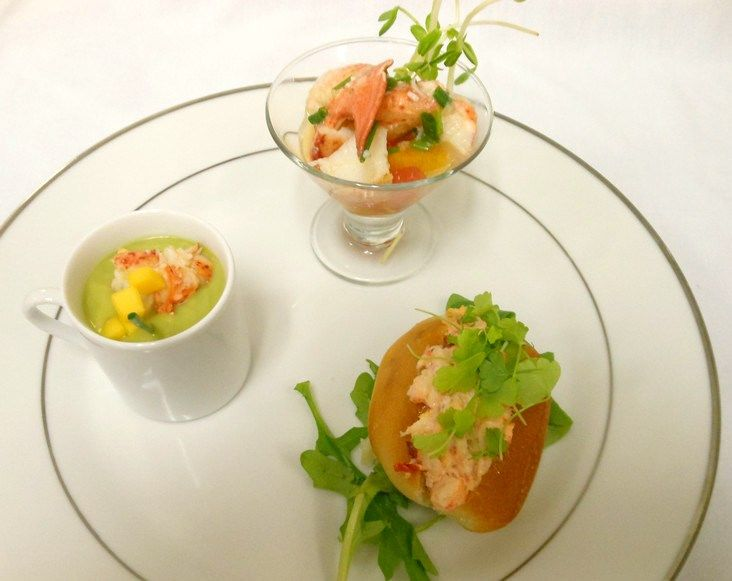 ... lobster roll and chilled avocado bisque with lobster and mango from
