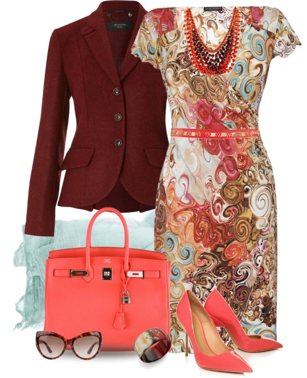 """Coral & Burgundy"" by yasminasdream on Polyvore"