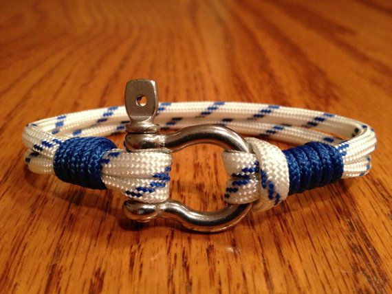 Nautical Sailing Bracelet / Rope Bracelet / Surfer / Beach Paracord Bracelet with Stainless Steel Shackle and Whipped Ends