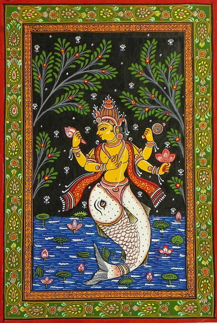 Matsya Avatar - First Incarnation of Lord Vishnu (Orissa Pata Painting on Patti - Unframed)