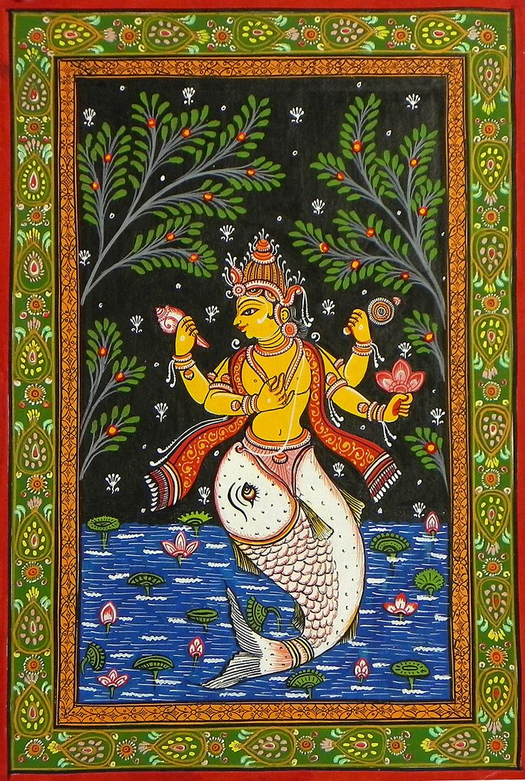 Matsya Avatar - First Incarnation of Lord Vishnu (Orissa Pata Painting on Patti - Unframed)