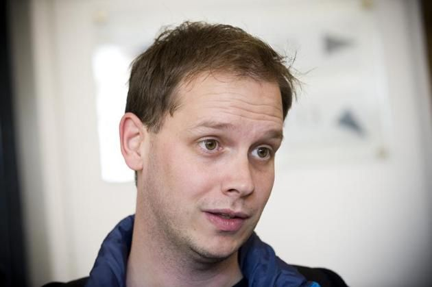 Peter Sunde, a Swedish co-founder of The Pirate Bay website, waits at the Swedish Appeal Court in Stockholm on September 28, 2010