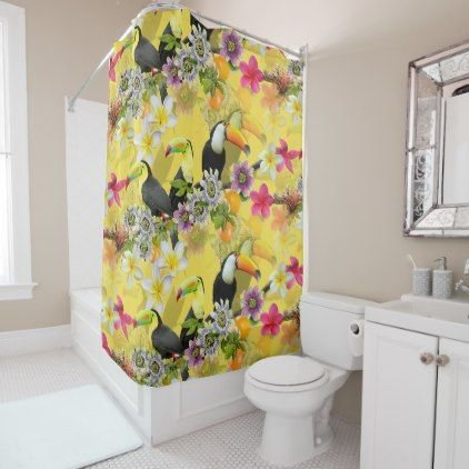 Toucan Birds Passion Flowers Plumeria Tropical Shower Curtain - shower curtains home decor custom idea personalize bathroom