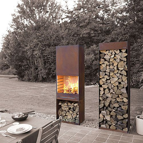 TOLE K60 Garden Fire & Barbeque - Corten steel outdoor fireplace and firewood storage