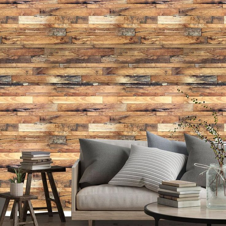 Rustic barnwood vintage aged shiplap wood peel and stick