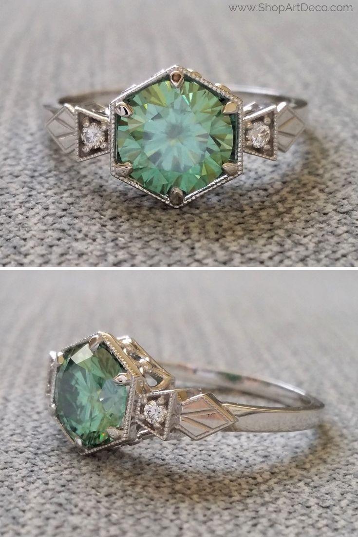 Anel art deco verde menta | Moissanite vintage e anel de diamante   – A heart for Jewels