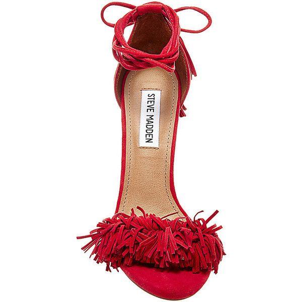 Steve Madden Women's Sassey Sandals ($130) ❤ liked on Polyvore featuring shoes, sandals, red suede, fringe high heel sandals, strappy platform sandals, high heels stilettos, lace up sandals and suede fringe sandals