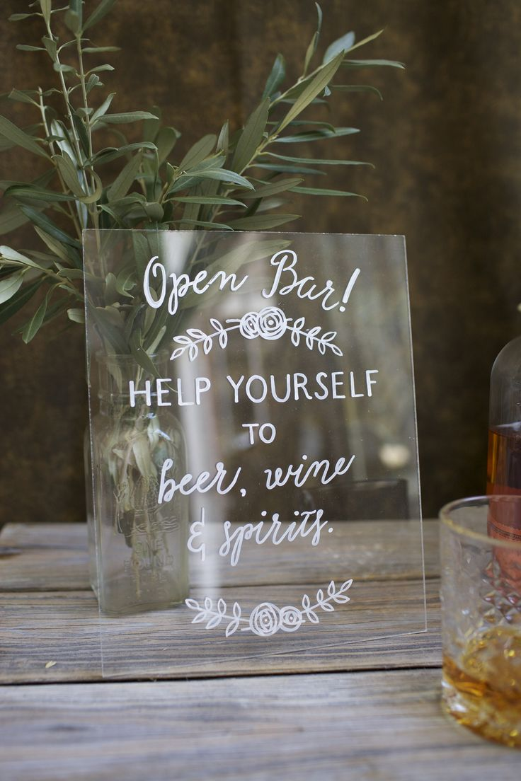 Clear acrylic open bar wedding sign with hand painted florals. Beer, wine and spirits. Unbreakable plexiglass.