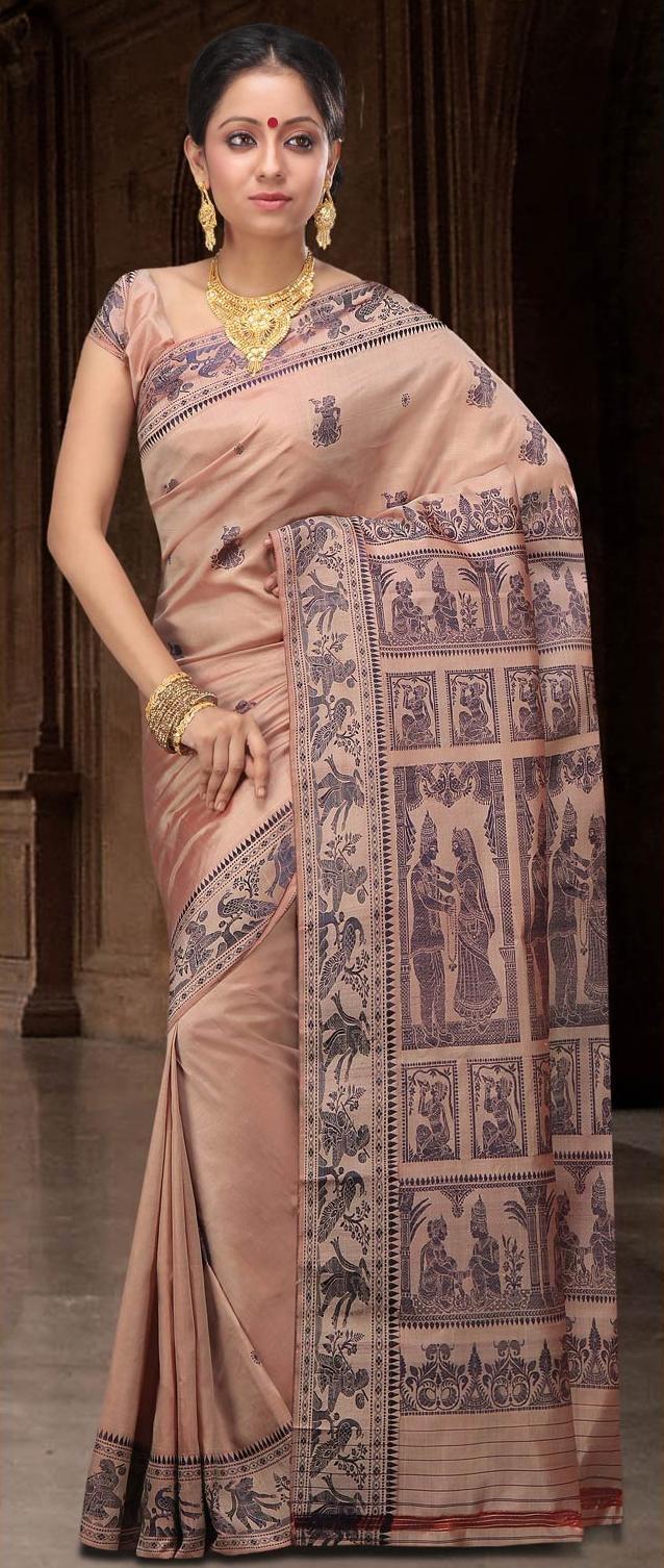 Fawn Bengal Handloom Baluchari #Silk #Saree With #Blouse @ US $144.16