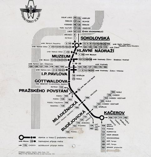 First map of Prague metro, used in 1974