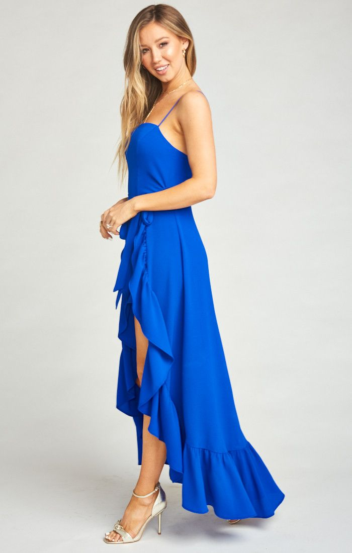 Rocco Romper Maxi Dress ~ Royal Blue Pebble | Show Me Your