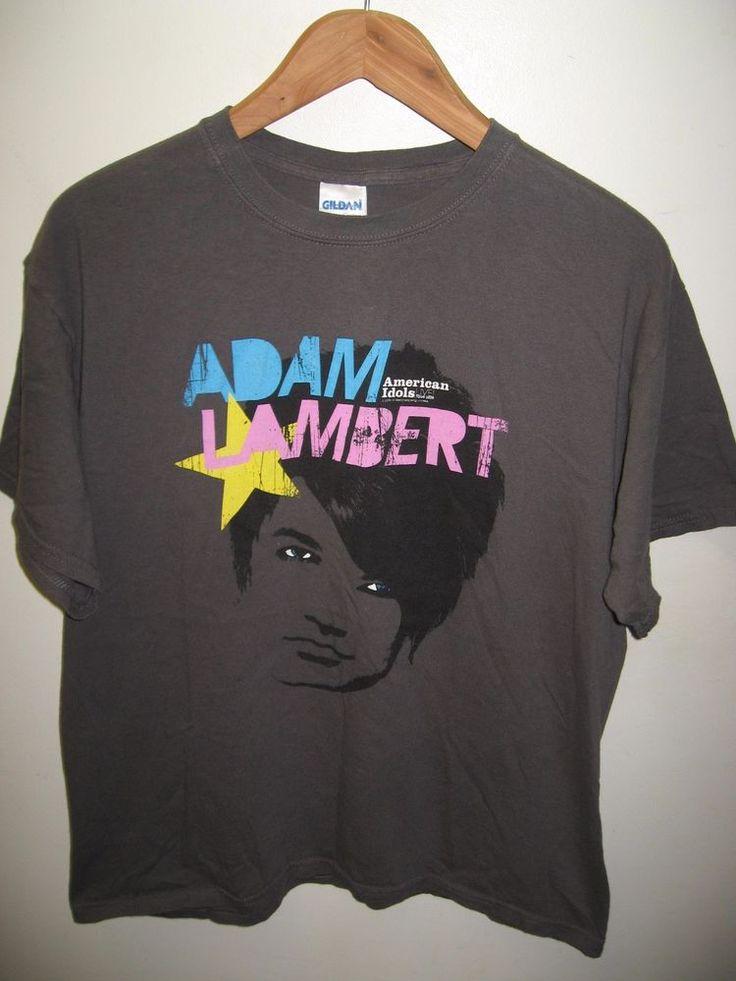 Adam Lambert Tee - 2009 American Idol Concert Tour Glam Rock Idols T Shirt Large #AdamLambert2009AmericanIdolsTour #GraphicTee