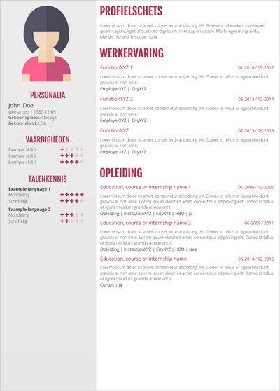 cv zorg Een cv maken voor een functie in de z  CV templates per