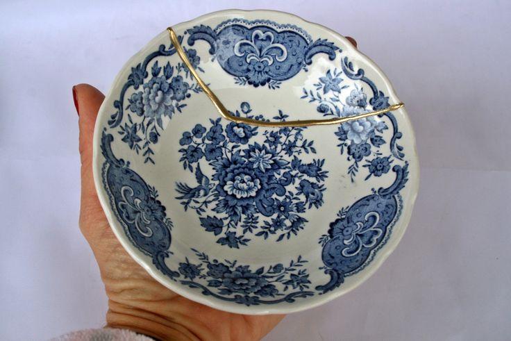 Kintsugi Vintage bowl, cuenco Kintsugi porcelana oriental. Colección Windsor  Nº1 de KanelaSuri en Etsy