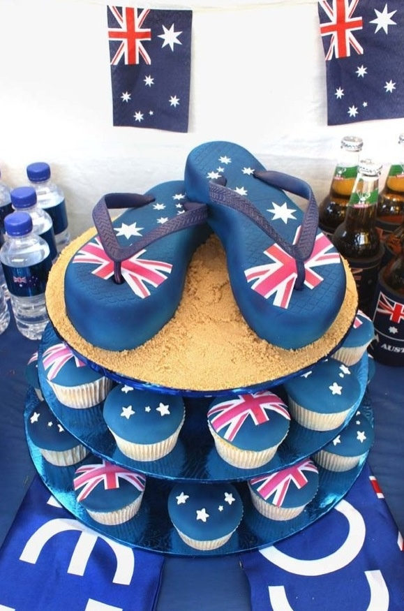 Aussie thong cake and cupcakes