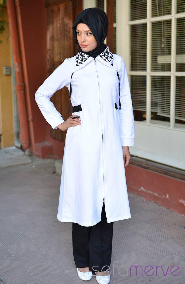 Sefamerve Ikili Tesettur Esofman Fhb 6512 04 Beyaz Basortusu Modasi Moda Stilleri Kapusonlu
