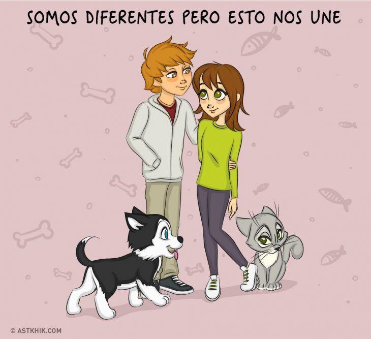 Comic que muestra las diferencias de vivir con un perro y con un gato
