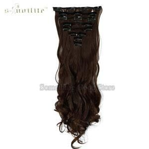 Snoilite 24Inch 8Pcs/Set Curly 18 Clips In False Hair Styling Synthetic Hair Extensions Hairpiece