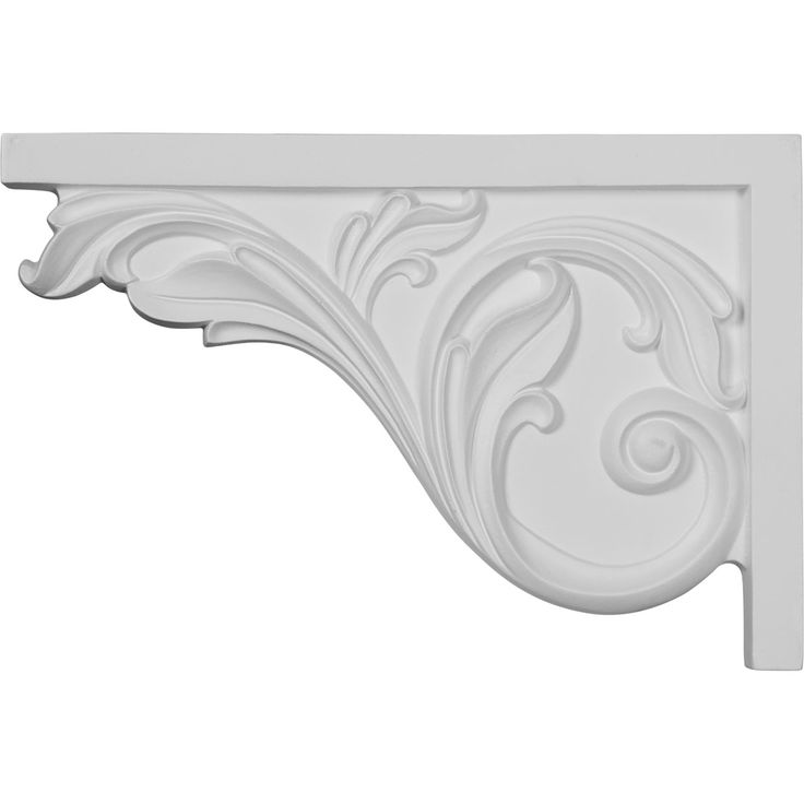 "11 3/4""W x 7 3/4""H x 3/4""D Large Acanthus Stair Bracket, Left - 11.25"