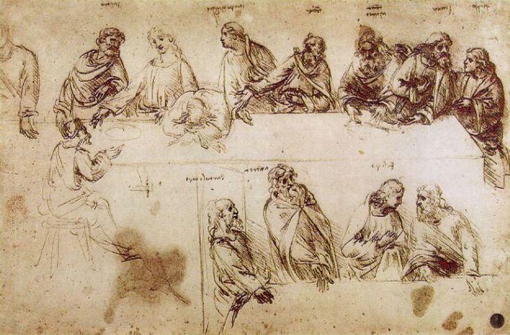 Da Vinci Drawings   Da Vinci's Practice Drawing for the Last Supper   Gentlemint