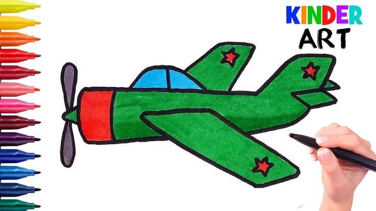 Как нарисовать военный самолет ребенку поэтапно   How to draw a plane fo...
