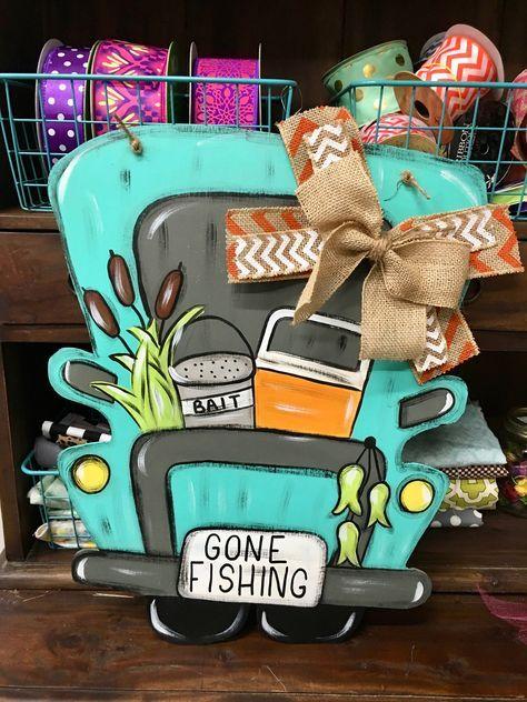Gone Fishing Door Hanger - Truck Door Hanger - Door Hanger - Gone Fishing Sign - Summer Door Hanger - Fishing Door Hanger - Fishing Decor by thescreendoorstore on Etsy https://www.etsy.com/listing/522634671/gone-fishing-door-hanger-truck-door