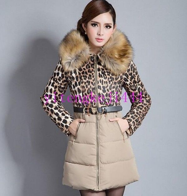 Women'S Fur Collar Winter Jacket Hooded Down Leopard Belt Long Parka Coat  Sz