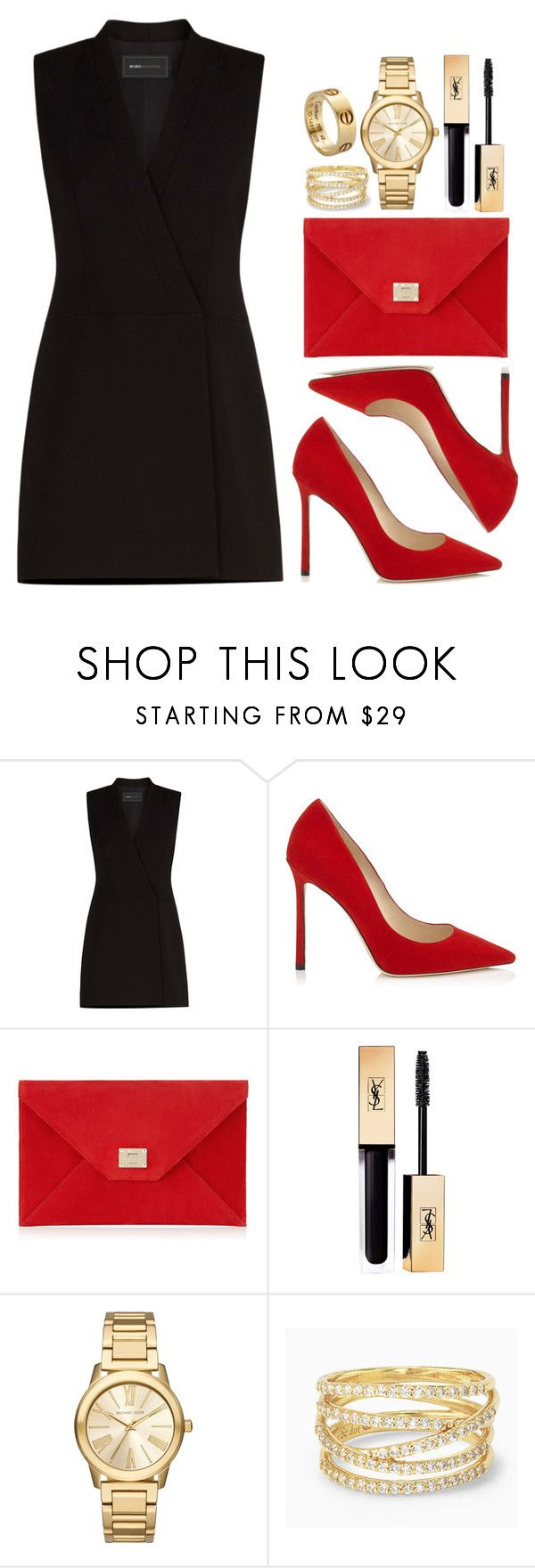 """Sin título #12181"" by vany-alvarado ❤ liked on Polyvore featuring BCBGMAXAZRIA, Jimmy Choo, Yves Saint Laurent, Michael Kors, Stella & Dot and Cartier"