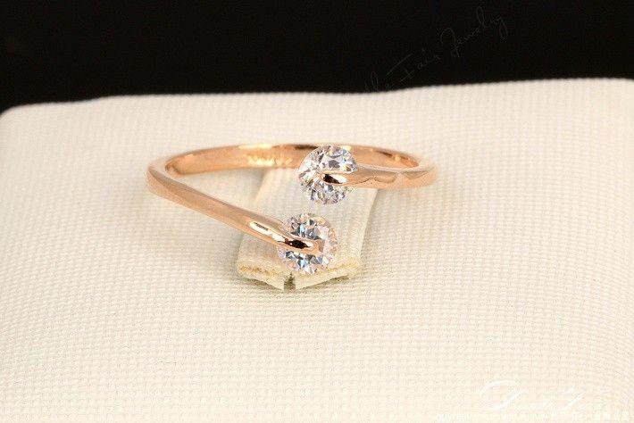 Dwr007 estilo moda OL Design doble Zircon CZ Engagement 18 K chapado en oro rosa anillos de bodas del dedo para mujeres cristal austriaco en Anillos de Joyería en AliExpress.com | Alibaba Group