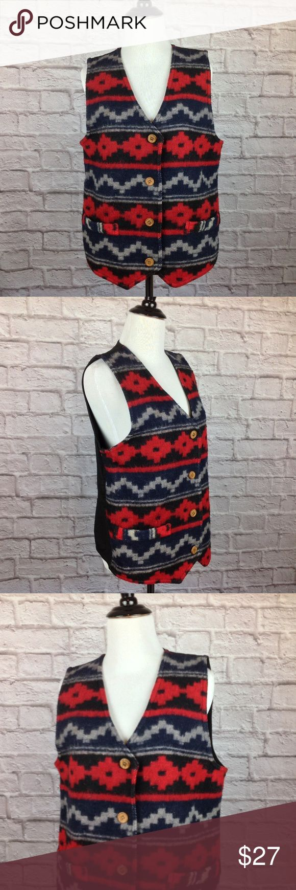 Urban Oasis Vest Small Southwestern Wool Cotton Great Condition;  Urban Oasis Vest Womens Small Southwestern Wool Cotton Button Red Blue Black; Back Adjuster belt; 21 inch length at sides; 23.5 inch length down the front; 19.5 inch across bust 44/48/3/5 Wool/Cotton/Polyester/Other  A04-09 Urban Oasis Jackets & Coats Vests