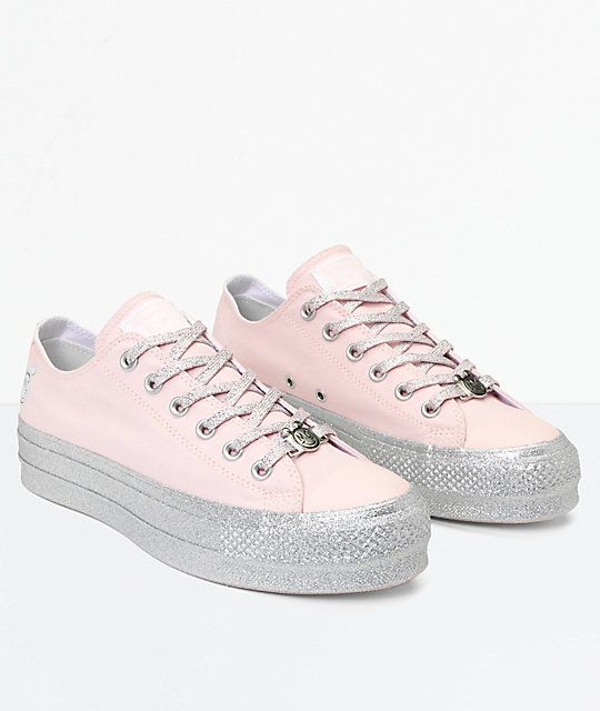 9fd1fc1ccf0b6e Converse x Miley Cyrus Lift Pink Glitter Shoes in 2019