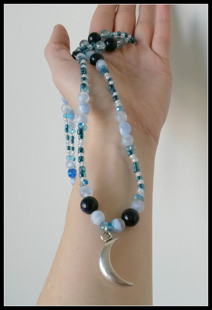 Blue and white moon necklace by LadySparkleArt on Etsy