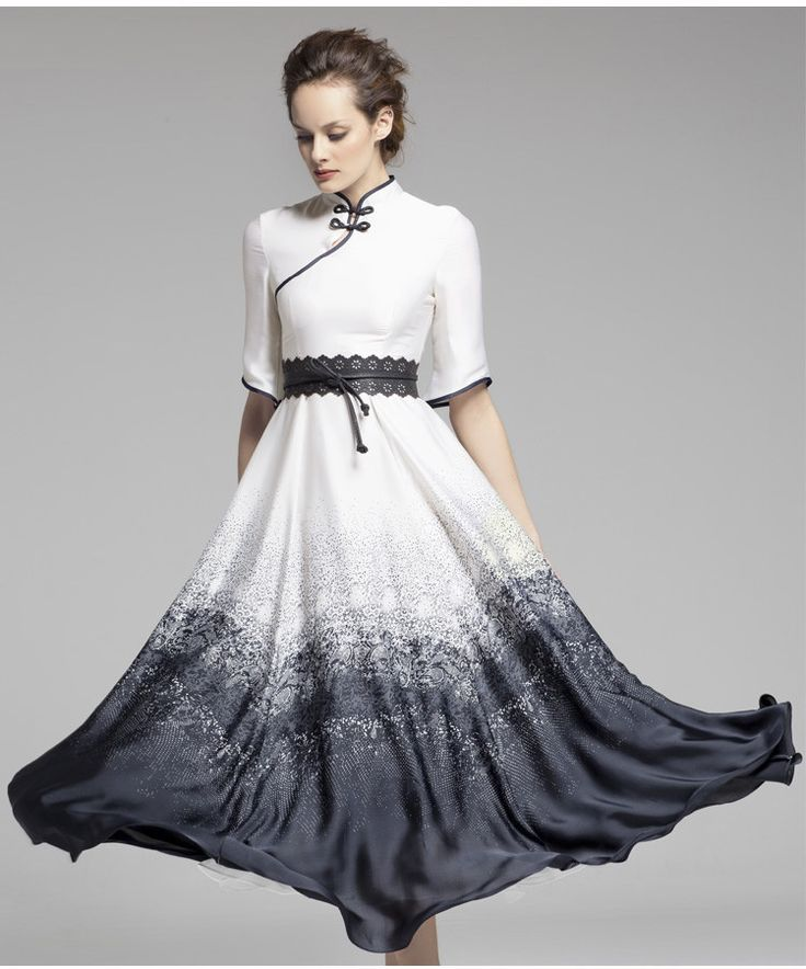 Ivy clothes Chinese classic ink painting style robe design with modern twist, summer long dress