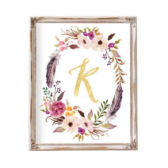 Monogram, Monogram Letters, Nursery Art, Nursery Wall Art, Floral Monogram…