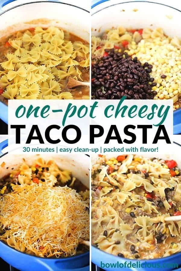 One Pot Cheesy Taco Pasta With Ground Beef Bowl Of Delicious In 2020 Taco Pasta Homemade Taco Seasoning Mix How To Cook Pasta