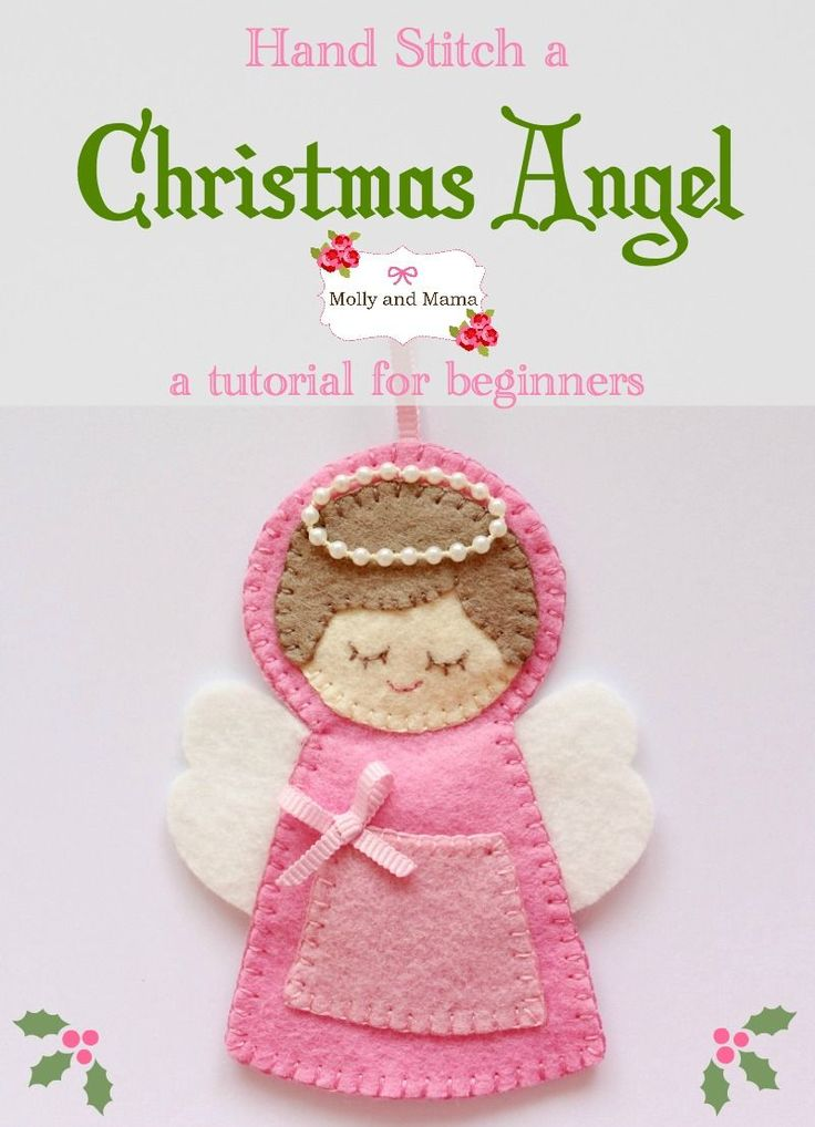 Stitch this cute felt Christmas Angel Ornament with a tiny front treat pocket. This easy tutorial has lots of photos and simple instructions. See more on Molly and Mama.