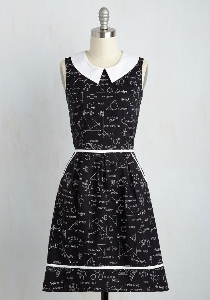 <p>Your quirky ensembles always earn you attention, and this black A-line continues your tradition of extraordinary style! Featuring a number of science formulas as its print, a white collar to match its trim, and hip pockets, this retro frock truly adds up to an amazing look.</p>
