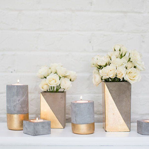 "Tall Ceramic Paradox Rectangular Vase in Gold Color Block<br>3"" x 6.25"""