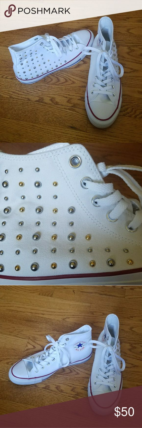 New Without Tags White Studded Converse Woman's 9 This is a brand new never been worn item!! Super cute for summer. The studs add a little playfulness and edge. Converse Shoes Sneakers