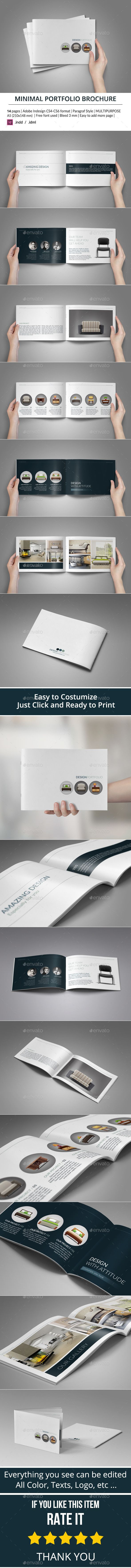 Minimal Portfolio Brochure — InDesign INDD #stylish #horizontal • Available here → https://graphicriver.net/item/minimal-portfolio-brochure/9305493?ref=pxcr