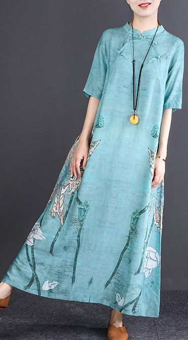 c848e5d5a70 stylish dark blue print long cotton linen dress oversize Stand linen maxi  dress vintage long sleeve baggy dresses