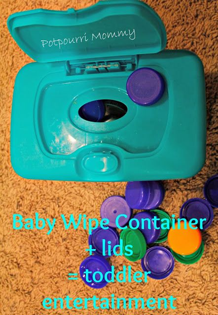 Baby Wipe Container + lids= toddler entertainment