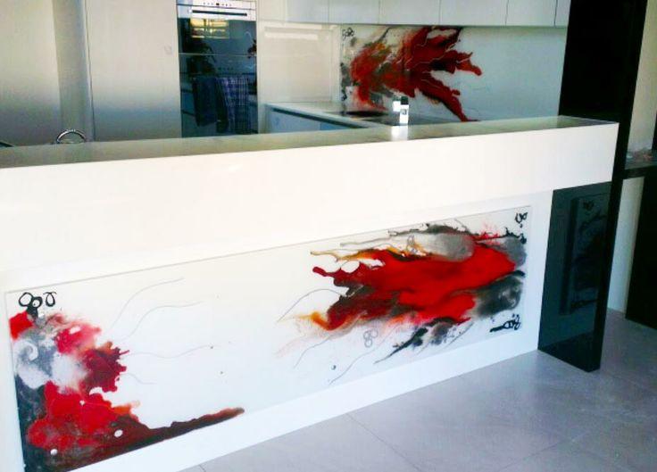 Hand painted glass kitchen splashback - Voodoo Glass, Gold Coast - http://www.voodooglass.com.au
