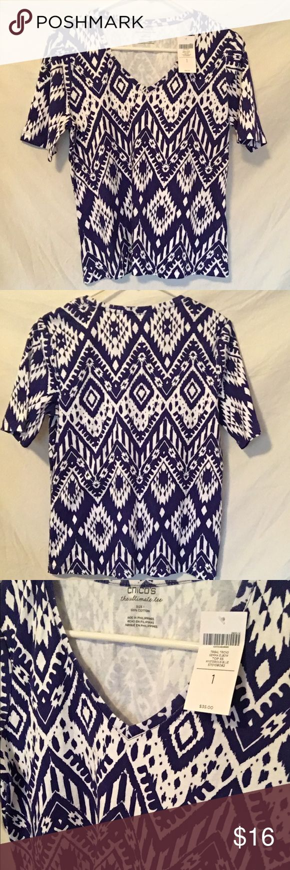 🆕NWT! Chico's tshirt! New with tags women's blue and white tshirt. Size 1 in Chico's. Fits a small loosely and fits a medium perfect with a little room. 100% cotton. Amazingly comfortable and soft. Super cute print! Chico's Tops Tees - Short Sleeve