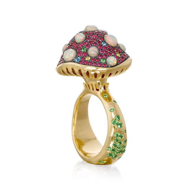 Shroom ring with sapphire, ruby, opal and garnet from the Garden Party Collection
