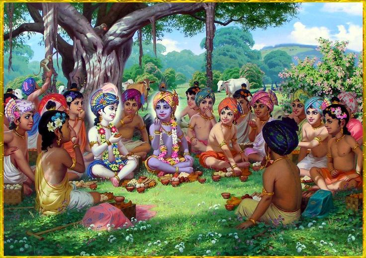 """♥♥ Krishna~Balarama ♥♥     """"Sitting down on the ground and keeping Krishna in the center, the cowherd boys began to open their different lunch boxes brought from home. Lord Krishna was seated in the center of the circle, and all the boys kept their faces toward Him. They ate and constantly enjoyed seeing the Lord face to face."""""""
