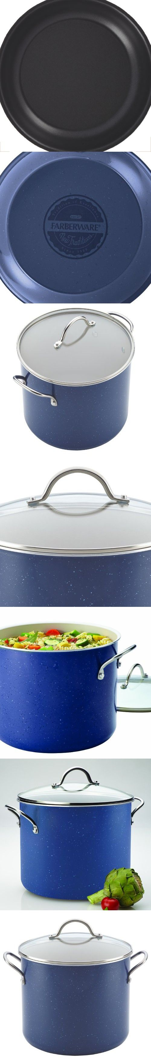 Farberware New Traditions Speckled Aluminum Nonstick 12-Quart Covered Stockpot, Blue