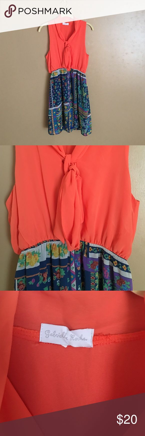 Gabriella Rocha cute dress Cute as can be! Great condition. No size tag but it's a medium (6-8) top is an orange/coral color. Gabriella rocha Dresses