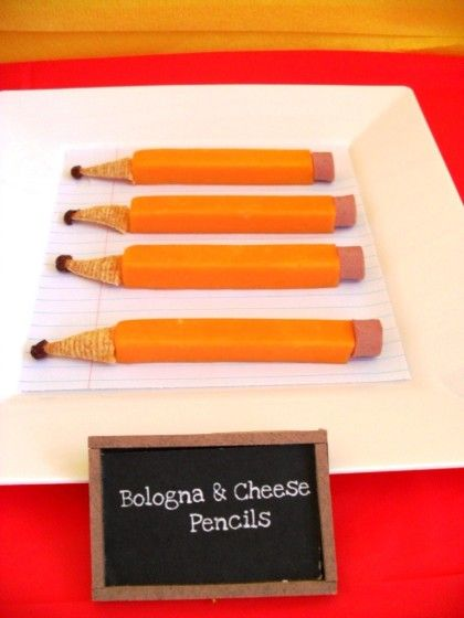 cheese pencils (made with cheese , bugles chips, raisins and bologna) super cute!