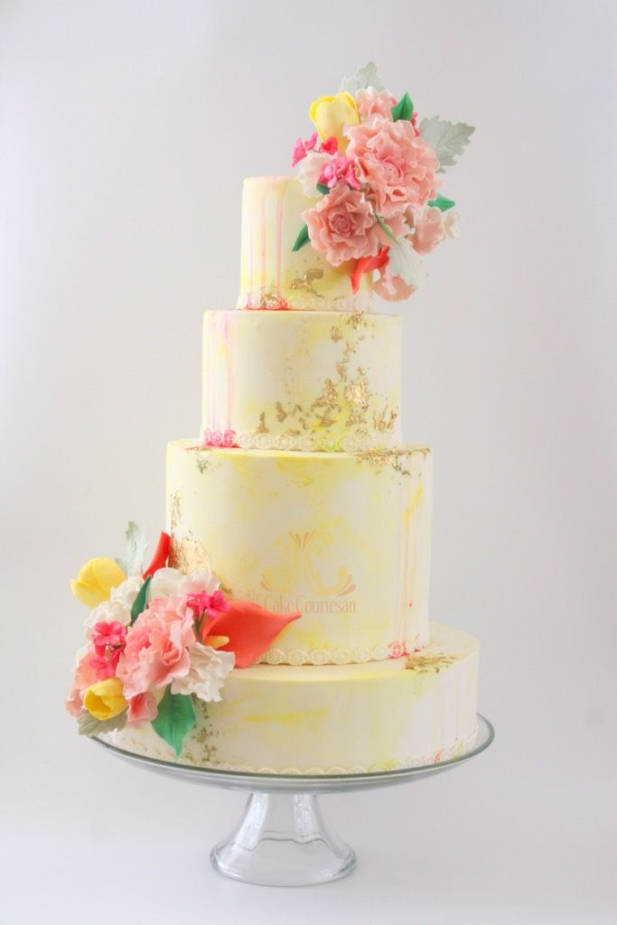 Watercolor Cake with Sugar Flowers. Yellow, Gold, Pink and Green Wedding Cake